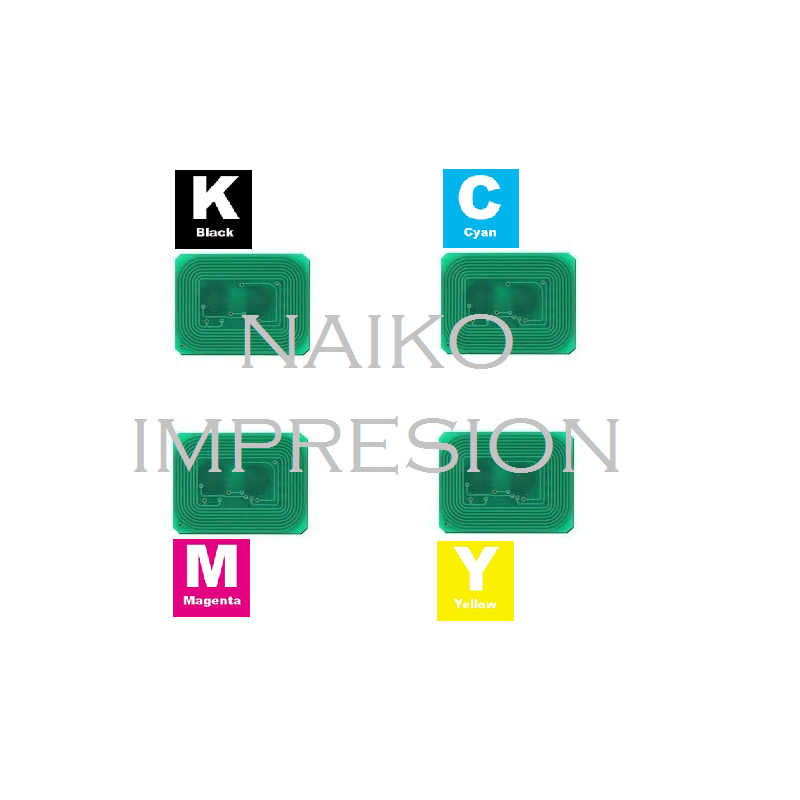 Chips compatibles Oki C712. 1 chip de cada color CMYK