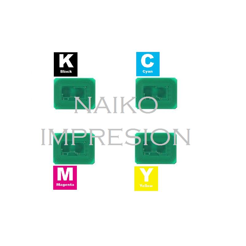 Chips compatibles Oki C823/ C833/ C843. 1 chip de cada color CMYK