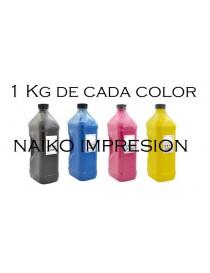 Recargas tóner Intec CP2020/ XP2020. 1 botella de cada color CMYK