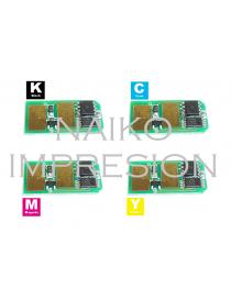 Chips compatibles Toshiba e-Studio 222CP/ 222CS/ 224CS/ 262CP/ 263CP/ 263CS/ 264CS.  1 chip de cada color CMYK