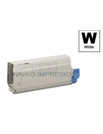 Tóner compatible Oki C711WT Blanco